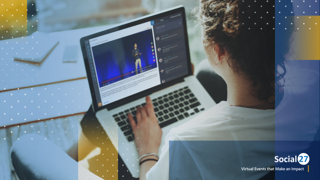 Woman enjoys watching a virtual event and hybrid event experience