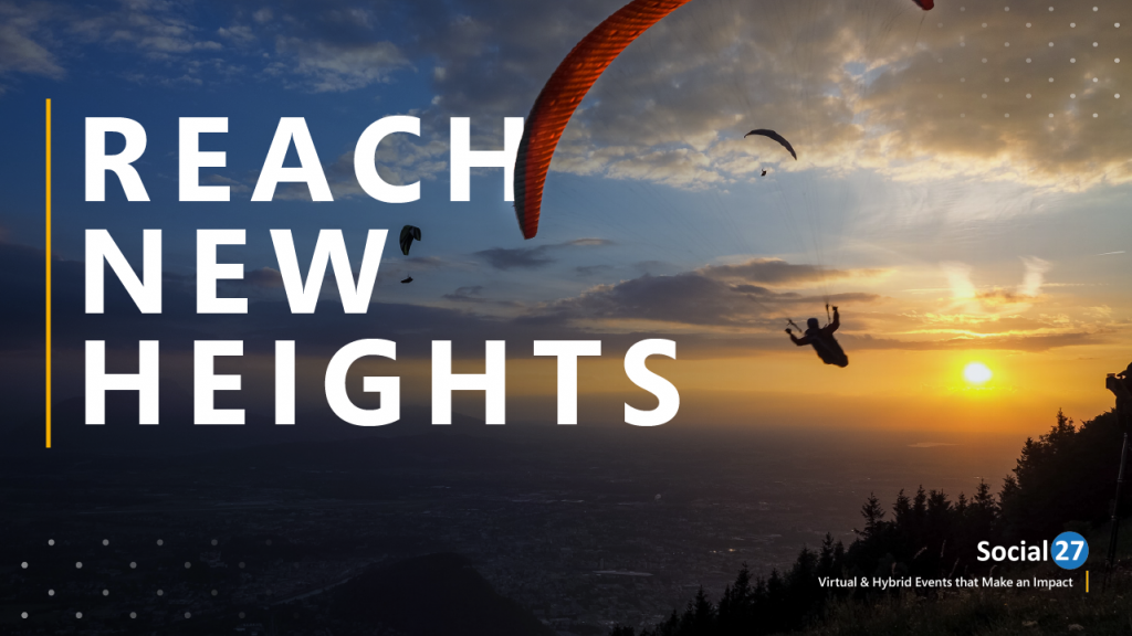"""An image of the sky with someone parasailing, white text stating """"reach new heights"""""""