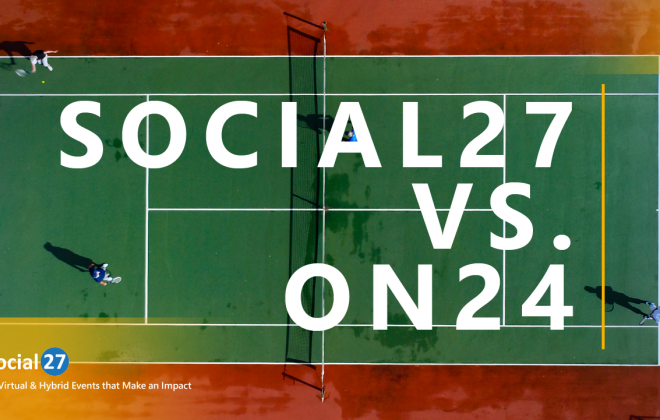 """Virtual event attendees play tennis on a court while discussing the main differences and advantages of using Social27 vs On24, white bold text that reads """"Social27 vs On24"""""""