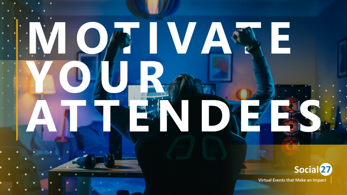 """Event attendee in a gamer chair, bathed in blue light, celebrates with fists in the air, surrounded by yellow color swatches, white text reads """"Motivate Your Attendees"""""""