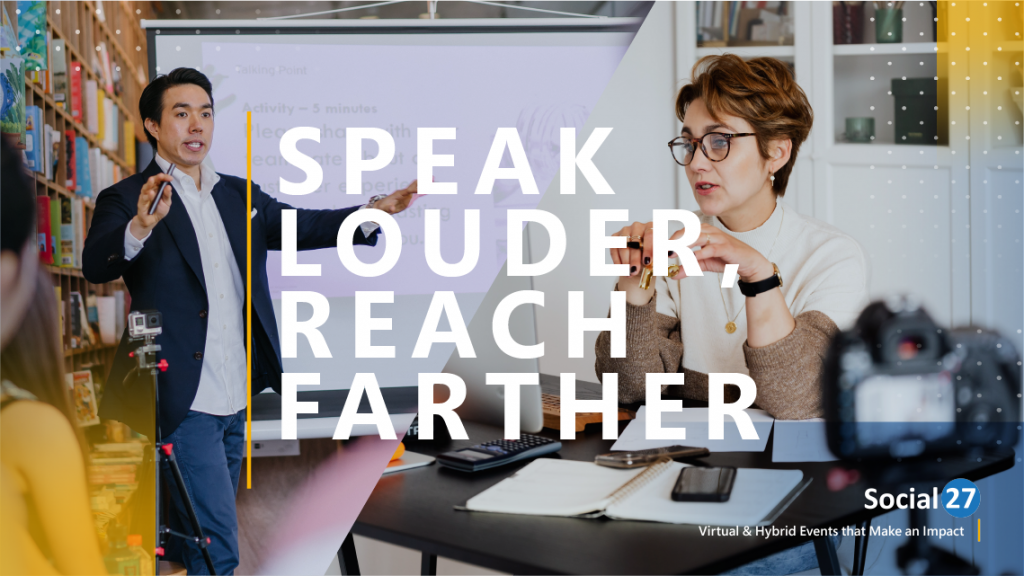 """Two event speakers, one virtual and one hybrid or in-person, deciding the difference between Speaking at In-Person Vs. Virtual Events, white text that reads """"Speak Louder, Reach Farther"""""""